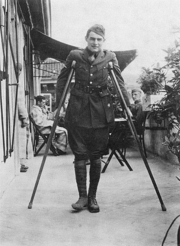 Hemingway on Crutches 1918