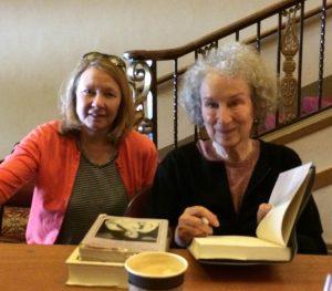 Margaret Atwood signing The Heart Goes Last for fangirl-novelist Meg Waite Clayton
